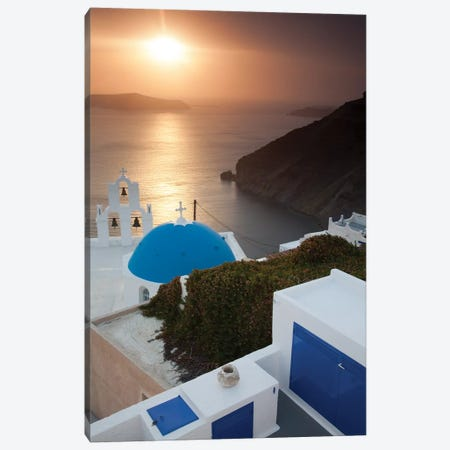 Greece, Santorini. Blue dome and bell tower at sunset Canvas Print #HLO7} by Hollice Looney Canvas Wall Art