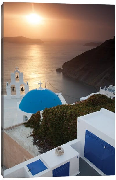Greece, Santorini. Blue dome and bell tower at sunset Canvas Art Print