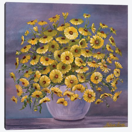 Yellow Daisies Canvas Print #HLS23} by Helena Lose Art Print