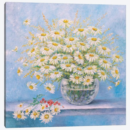 Daisies In A Vase Canvas Print #HLS6} by Helena Lose Canvas Print