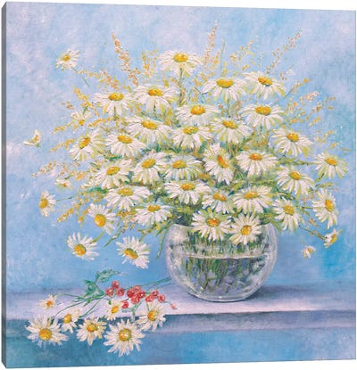 Daisies In A Vase Canvas Art Print