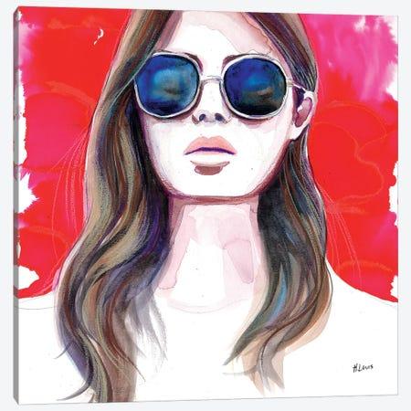 Ultramarine Rays Canvas Print #HLU105} by Hodaya Louis Canvas Artwork