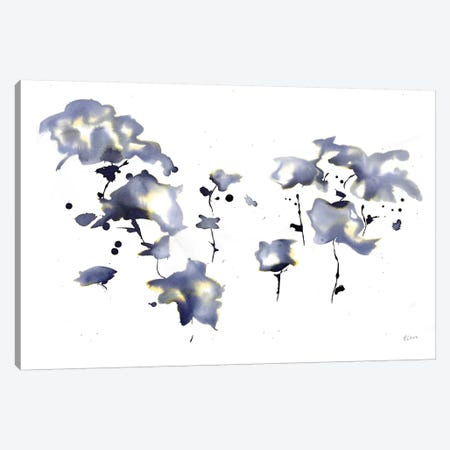 Dark Flowers Canvas Print #HLU30} by Hodaya Louis Canvas Artwork