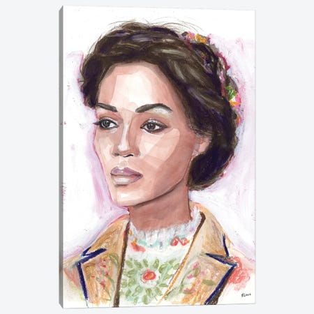 Flower Girl Canvas Print #HLU37} by Hodaya Louis Canvas Art Print
