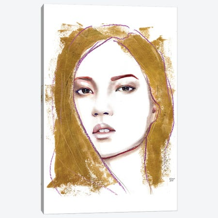 Gold Hiar Canvas Print #HLU40} by Hodaya Louis Art Print
