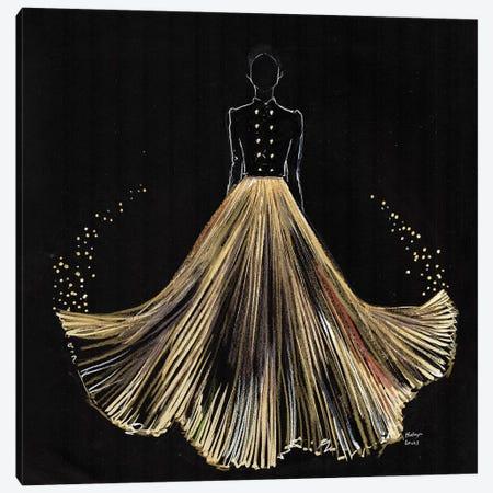 Gold Pleated Magic Canvas Print #HLU41} by Hodaya Louis Canvas Art Print