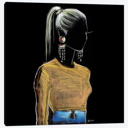 High Ponytail Mood Canvas Print #HLU46} by Hodaya Louis Canvas Artwork