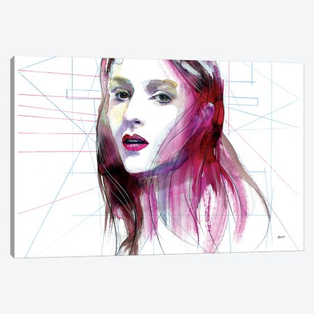 Magenta Hair Canvas Print #HLU60} by Hodaya Louis Art Print
