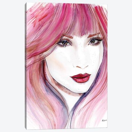 Pink Hair Canvas Print #HLU77} by Hodaya Louis Canvas Art Print