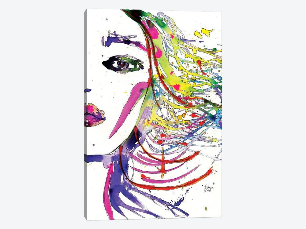 Rainbow Hair Splashes by Hodaya Louis 1-piece Canvas Artwork