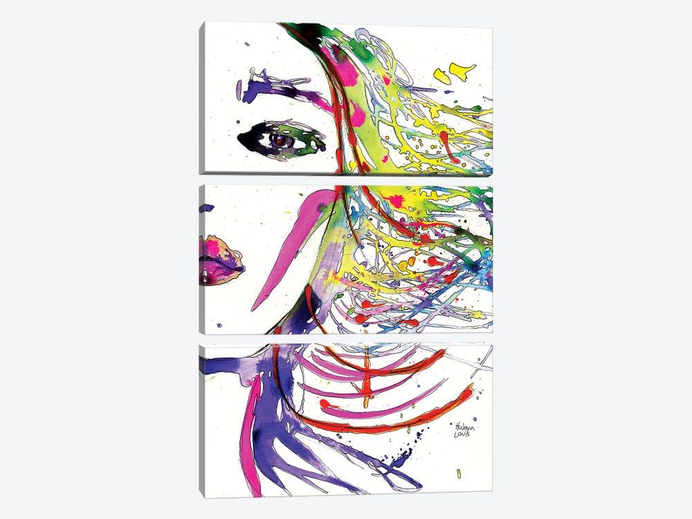 Rainbow Hair Splashes by Hodaya Louis 3-piece Canvas Art