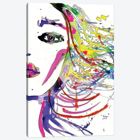 Rainbow Hair Splashes Canvas Print #HLU79} by Hodaya Louis Canvas Wall Art