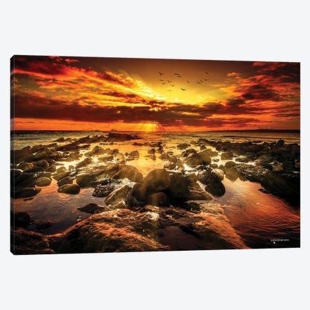 Magical Orange Sunset Canvas Print #HMI125} by Johan Marais Art Print
