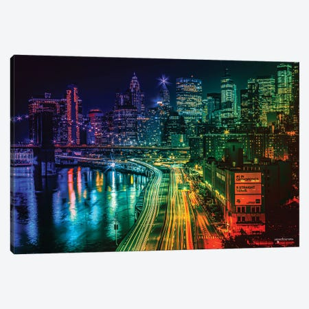 Colorful Nights Canvas Print #HMI22} by Johan Marais Canvas Art