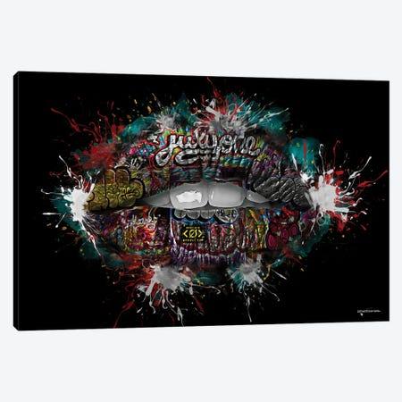Graffiti Lips Canvas Print #HMI39} by Johan Marais Art Print