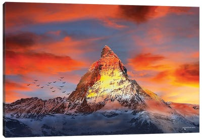 Red Snowy Mountain Sunset Canvas Art Print
