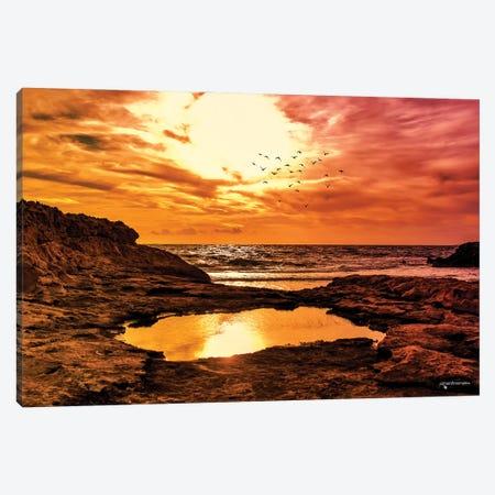 Rocky Coast Line Sunset Canvas Print #HMI59} by Johan Marais Canvas Print