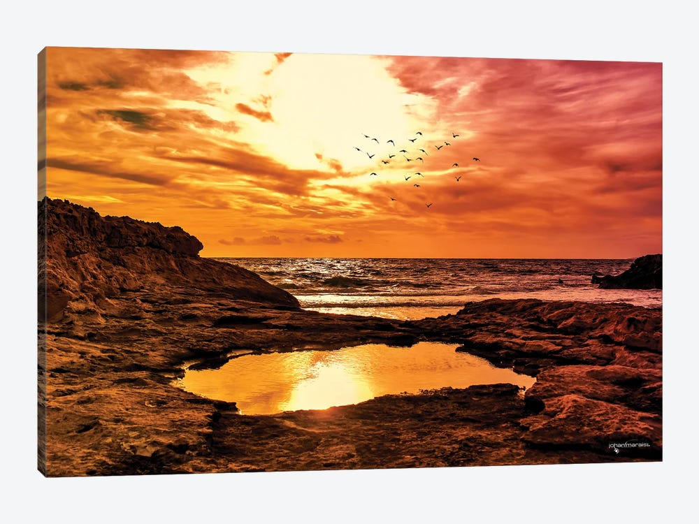 Rocky Coast Line Sunset Canvas Artwork By Johan Marais Icanvas