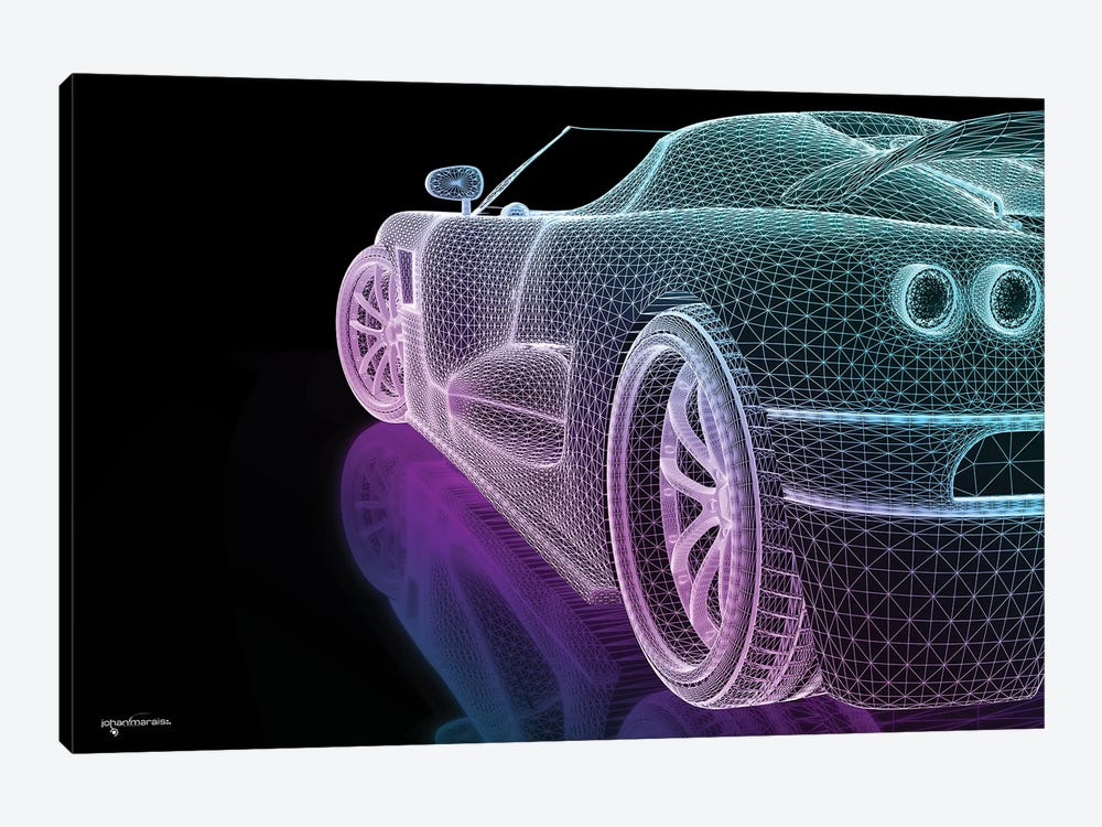 Speed Grid Neon by Johan Marais 1-piece Canvas Print