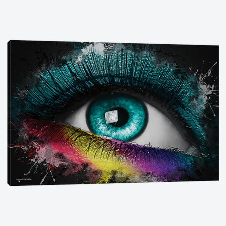 Colorful Eye Splash Art Canvas Print #HMI96} by Johan Marais Canvas Art