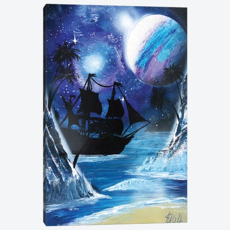 Black Ship Painting Under Blue Planet Canvas Print #HMK12} by Nicolay Homenko Art Print