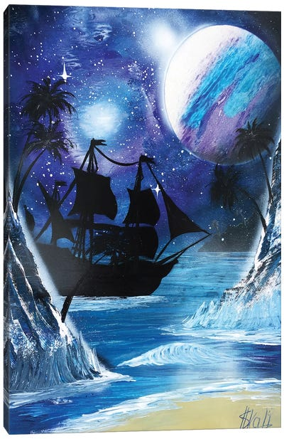 Black Ship Painting Under Blue Planet Canvas Art Print