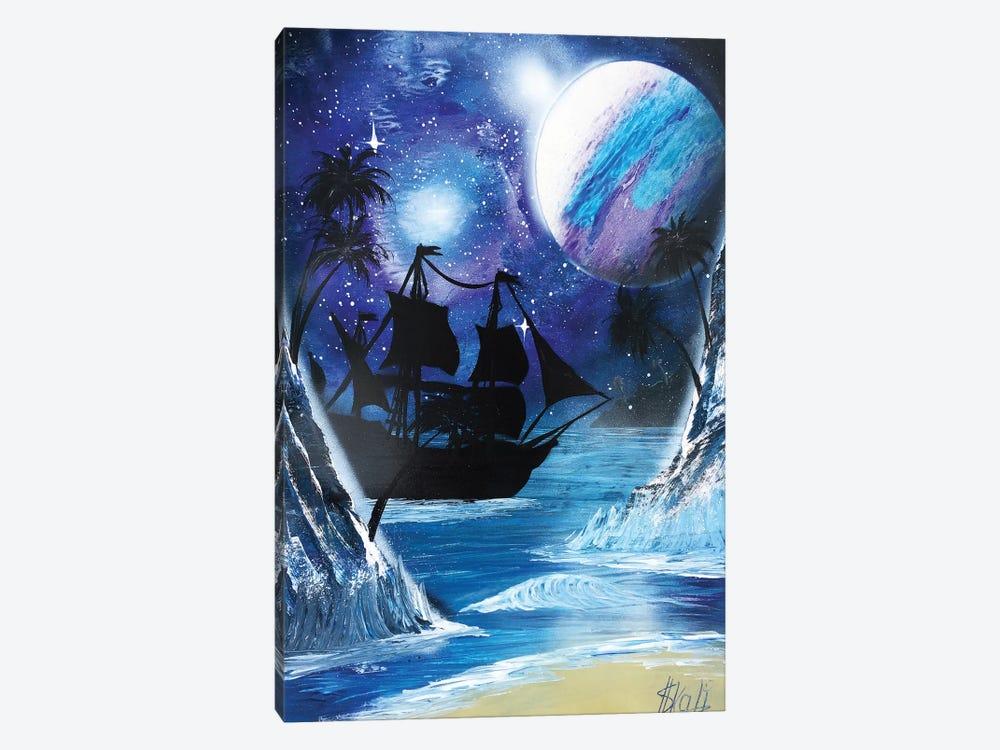 Black Ship Painting Under Blue Planet by Nicolay Homenko 1-piece Art Print
