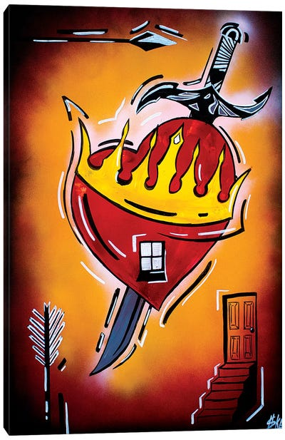 Heart With A Dagger Canvas Art Print