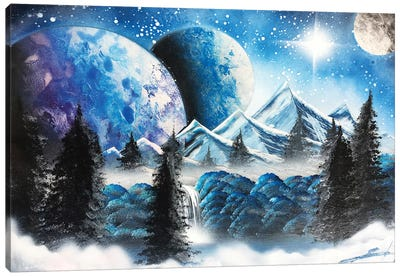 Blue Winter Landscape Canvas Art Print