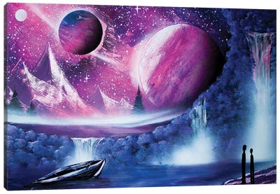 Couple In Space Landscape Canvas Art Print