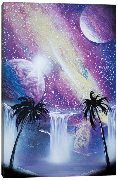 Purple Space Landscape With Palms Canvas Art Print