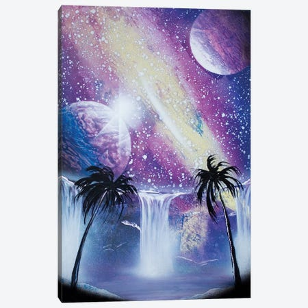 Purple Space Landscape With Palms Canvas Print #HMK193} by Nicolay Homenko Canvas Artwork