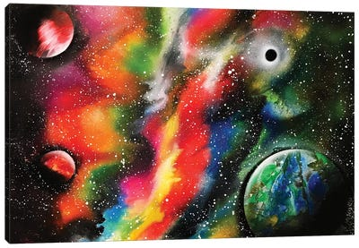 Bright Nebula And Planets Canvas Art Print
