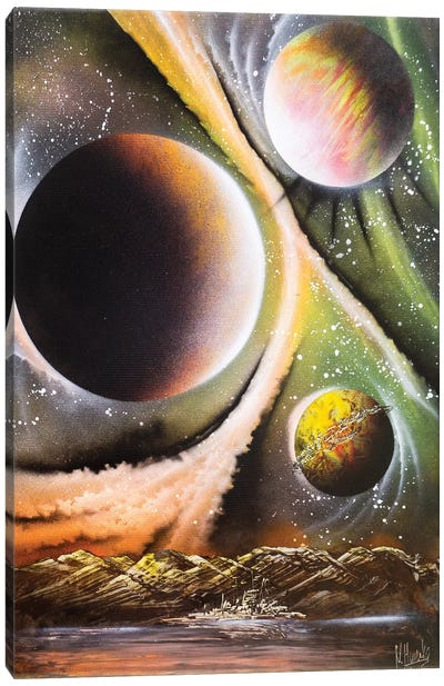 Brown Planets Landscape Canvas Art Print