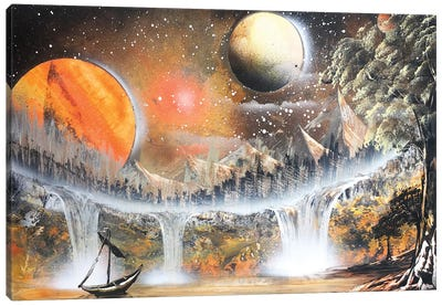 Brown Space Landscape With Lonely Boat Canvas Art Print