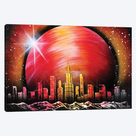 City Under Red Planet Canvas Print #HMK23} by Nicolay Homenko Canvas Artwork