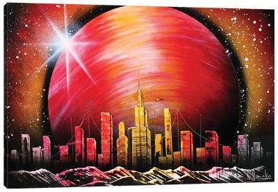 City Under Red Planet Canvas Art Print