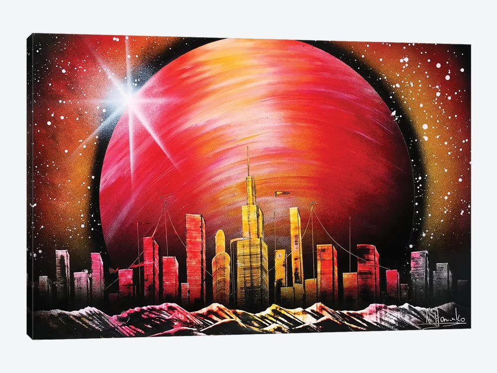 City Under Red Planet by Nicolay Homenko 1-piece Canvas Art Print