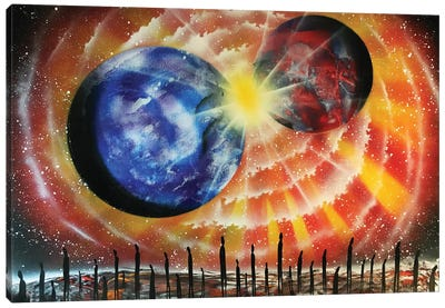 Collision Of Planets Canvas Art Print