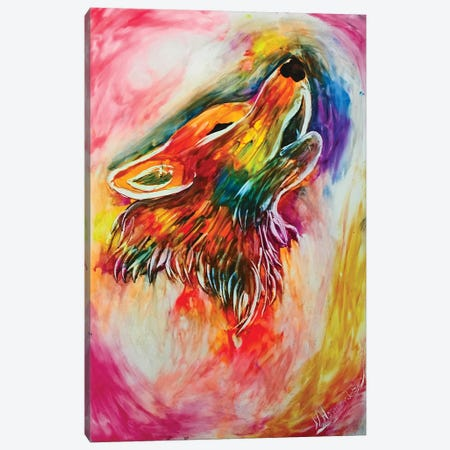 Colorful Howling Wolf Canvas Print #HMK27} by Nicolay Homenko Art Print