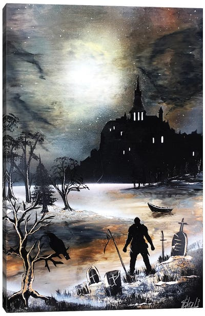 Dark Castle With Black Knight Canvas Art Print