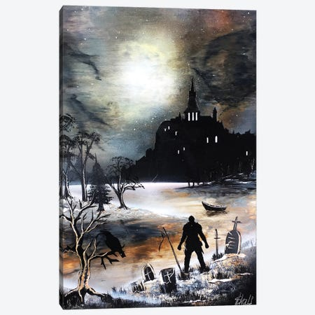 Dark Castle With Black Knight 3-Piece Canvas #HMK36} by Nicolay Homenko Canvas Artwork