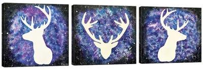 Space Deer Triptych Canvas Art Print