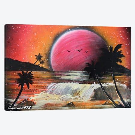 Fantasy Beach With Palms Canvas Print #HMK42} by Nicolay Homenko Canvas Wall Art