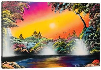 Fluorescent Jungle Landscape Canvas Art Print