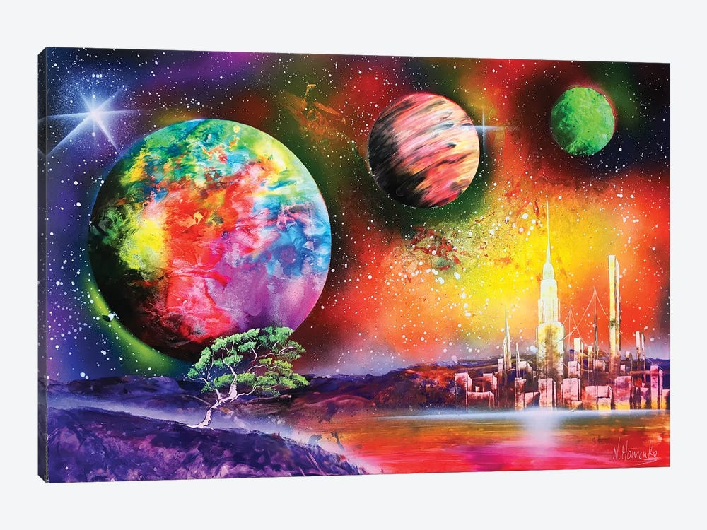 Fluorescent Planet Landscape by Nicolay Homenko 1-piece Canvas Print