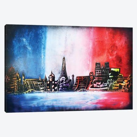 France Flag And Paris City Canvas Print #HMK52} by Nicolay Homenko Canvas Print