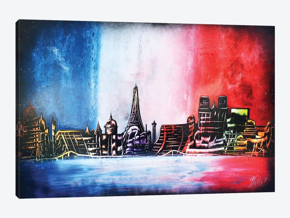 France Flag And Paris City by Nicolay Homenko 1-piece Canvas Art Print
