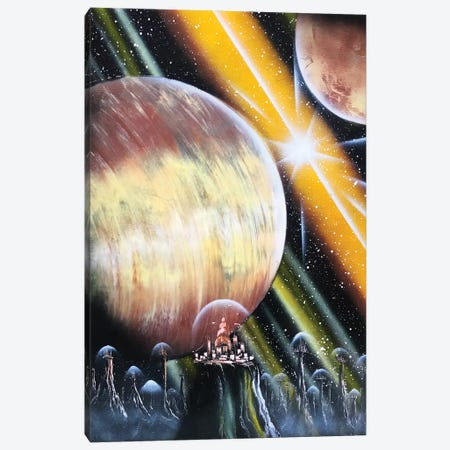 Giant Planet And Spacestation Canvas Print #HMK56} by Nicolay Homenko Canvas Wall Art