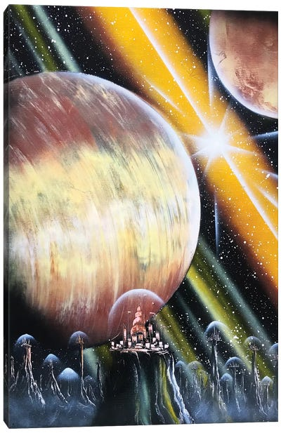 Giant Planet And Spacestation Canvas Art Print